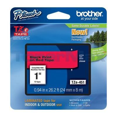 BROTHER TZ LAMINATED TAPE BLACK ON RED 0.94 IN X 26.2 FT 